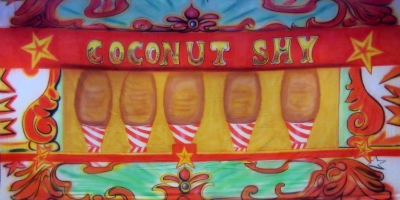Fairground Bsckdrop  Coconut Shy  Treated with fire retardant 300815