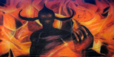 Fire and Ice Backdrops  Demon in Hell Fire  Treated with fire retardant 010817