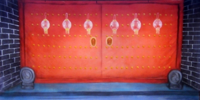 Chinese Backdrop  Chinese Door  Treated with fire retardant 010817