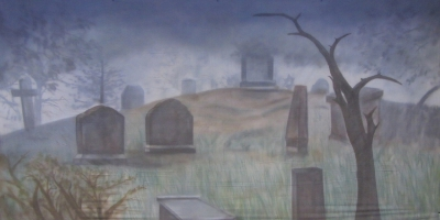 Halloween Backdrop (FTD16)  Graveyard  Treated with fire retardant 300815