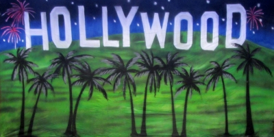 Hollywood Backdrop  Hollywood Hills with Palms  Treated with fire retardant 220816