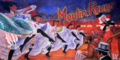 Moulin Rouge Backdrop  Can Can Dancers  Treated with fire retardant 300815