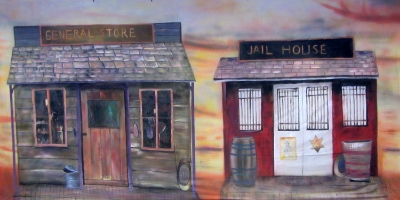 Wild West Backdrop  Store and Jail House  Treated with fire retardant 300815