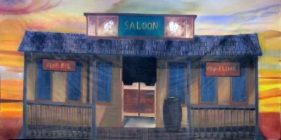 Wild West Backdrop  Saloon  Treated with fire retardant 300815