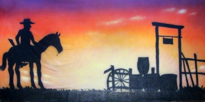 Wild West Backdrop  Cowboy Sunset  Treated with fire retardant 300815