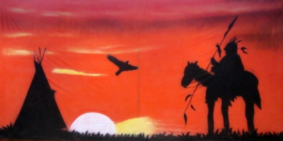 Wild West Backdrop  Indian Sunset  Treated with fire retardant 300815