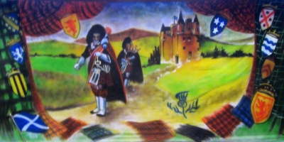 Scotland Backdrop  Pipers and Castle  Treated with fire retardant 300815