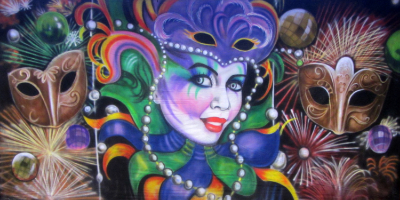 Mardi Gras Backdrop (F16)  Beaded Lady with Masks  Treated with fire retardant 010817