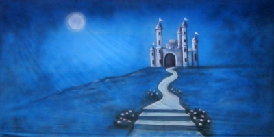 Medieval Backdrop  Castle in the Moonlight  Treated with fire retardant 300815