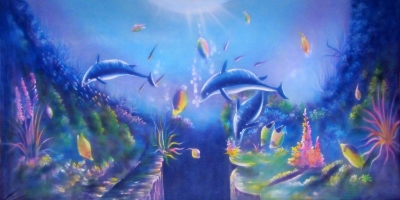 Under the Sea Backdrop  Dolphins at play  Treated with fire retardant 010817