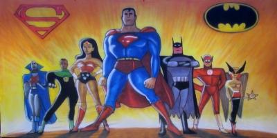 Suerhero Backdrop  Justice League  Treated with fire retardant 300819