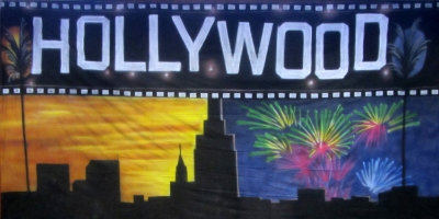 Hollywood Backdrop  Hollywood day and night  Treated with fire retardant 220816