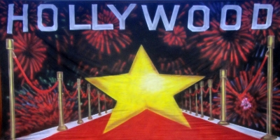 Hollywood Backdrop  Hollywood yellow star - red carpet  Treated with fire retardant 220816