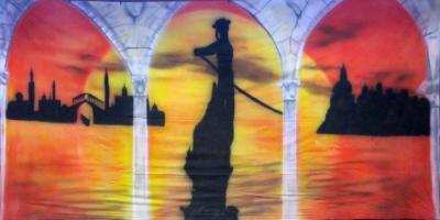 Venice Backdrop  Gondola Sunset  Treated with fire retardant 010817