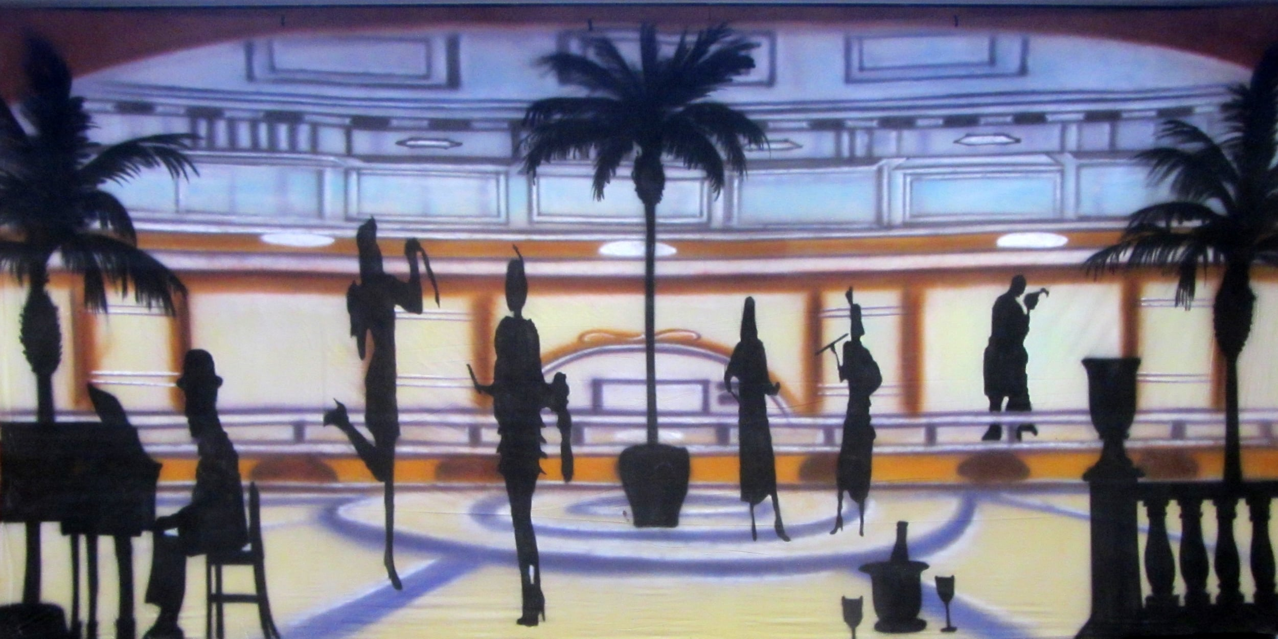 1920s Backdrop - Palm Court with Piano  Measures approximately 6m x 3m (20' x 10')  Can be supplied with freestanding, goal post style stand