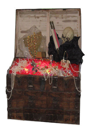 Full sized Pirate Treasure Chest  Gems are lit by powerful LED light which makes them glimmer