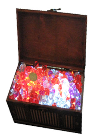 Treasure Chest table centres  Smaller version of our giant treasure chest  Also lit with pulsating LEDs  30 available