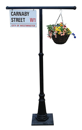 Lamposts with flowers and iconic 60s signage  3 = Carnaby Street - Penny Lane - Abbey Road