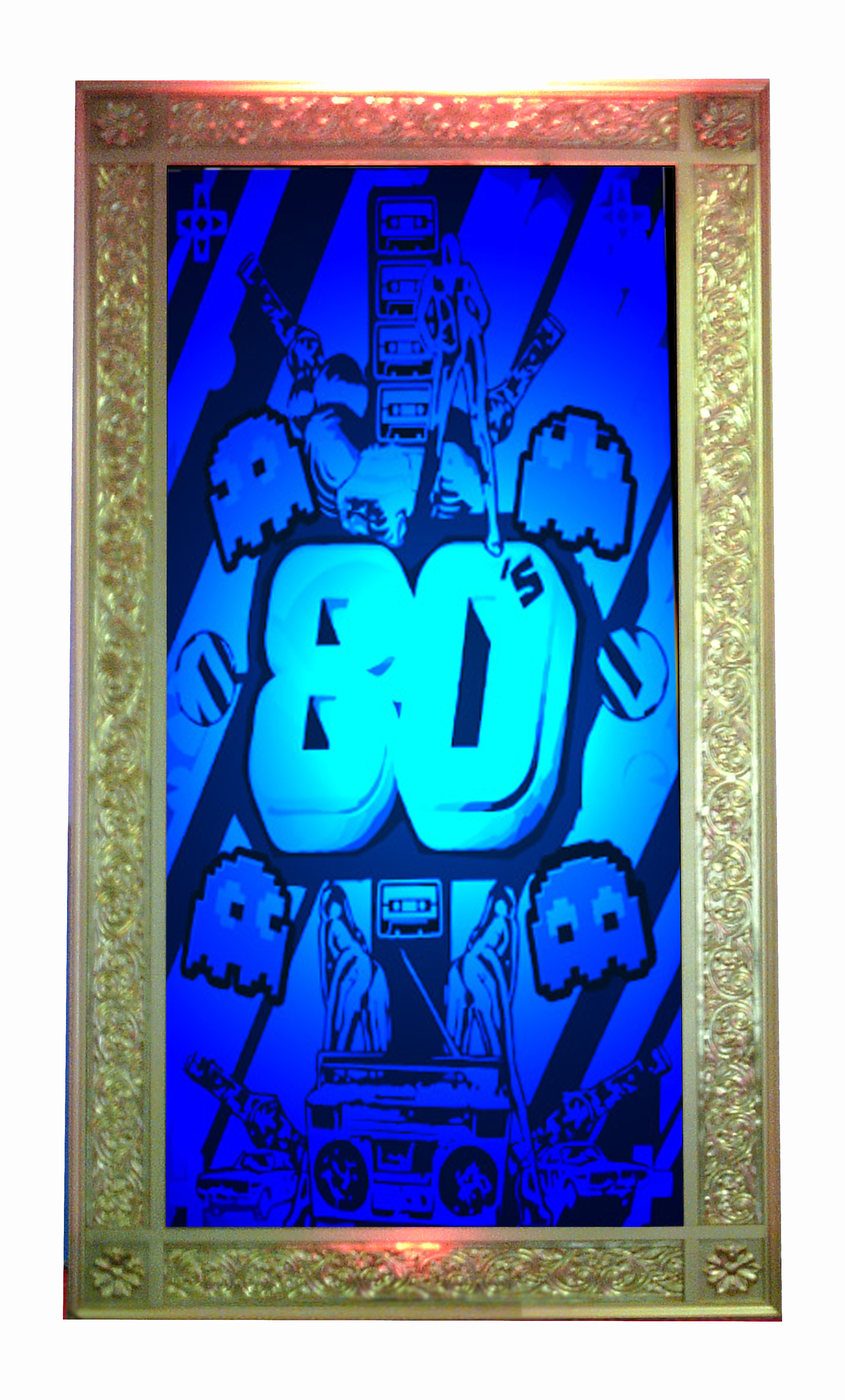 Giant Gold Framed transparencies - Approx 2.5m high and 1.2m wide  These are back lit with either static or colour changing lights - 2 available