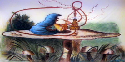 Alice in Wonderland Backdrop  Caterpillar on Mushroom