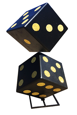 Giant tumbling Dice - Huge centre piece for rooms  Size of each die is approx 1m across, overall height of stack is over 2.5m - freestanding