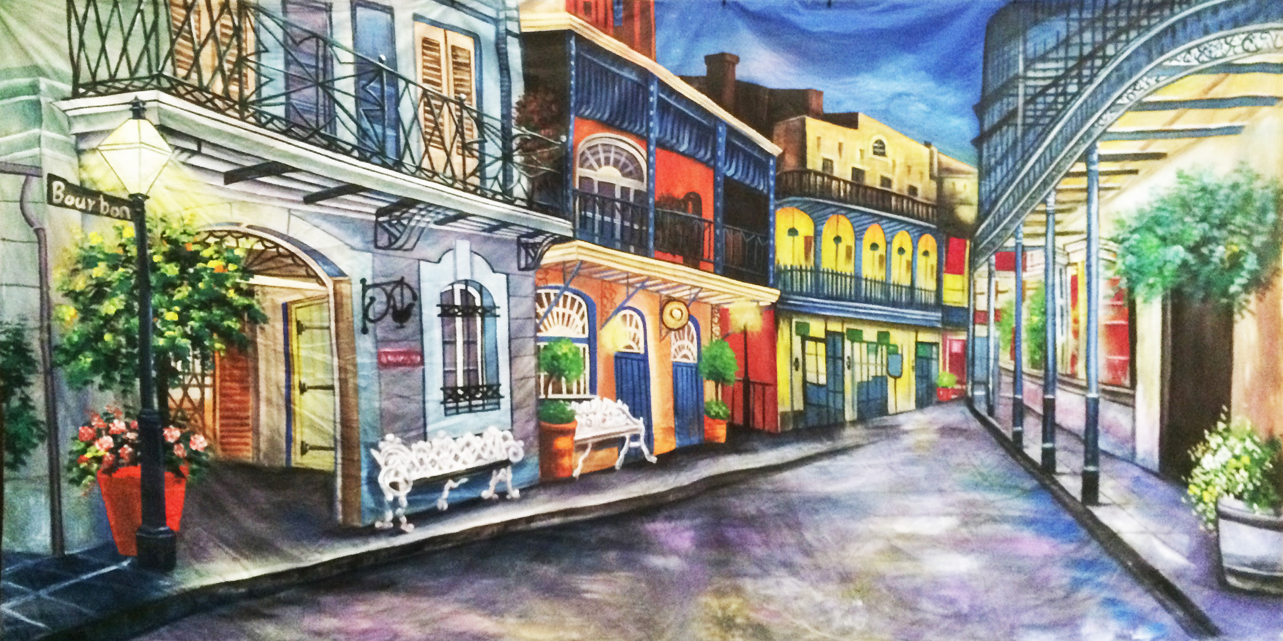 Backdrop - New Orleans - Bourbon Street  Measures approximately 6m x 3m (20' x 10')  Can be supplied with freestanding, goal post style stand