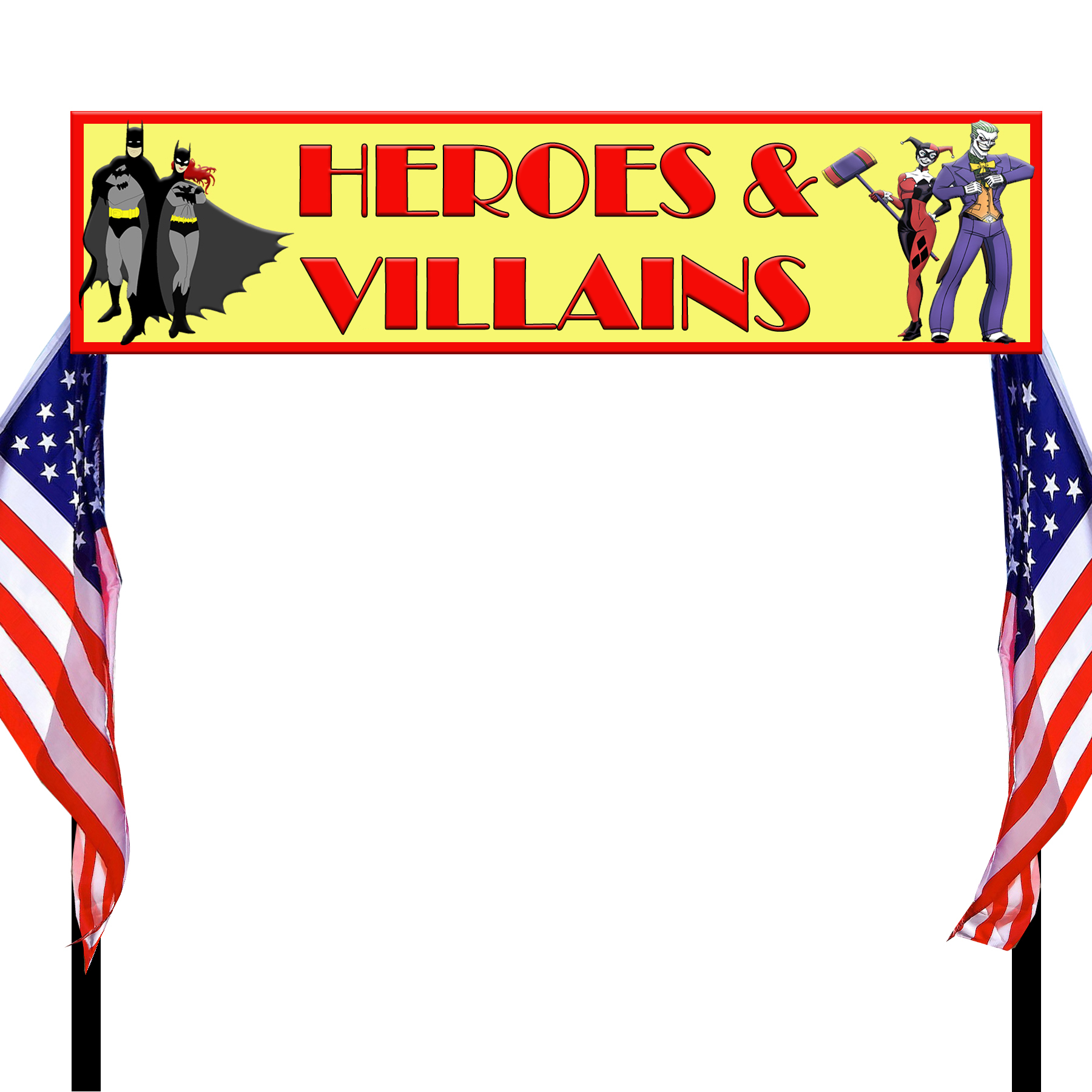 Banner used with US flags and goalpost stand for entrance arch