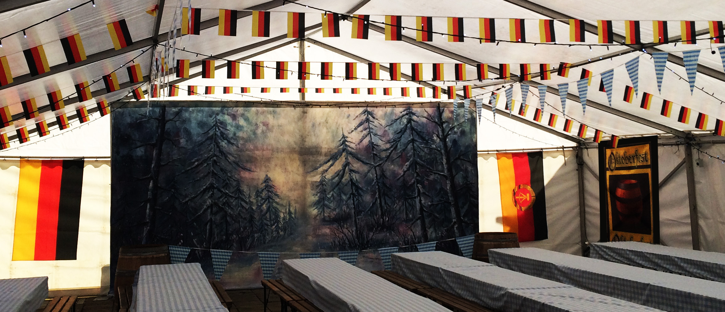 Large selection of German Flags and bunting. Also Oktoberfest table covers
