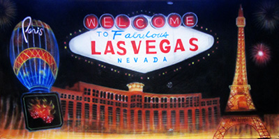 Vegas Backdrop  Vegas sign and clubs  Treated with fire retardant 300815