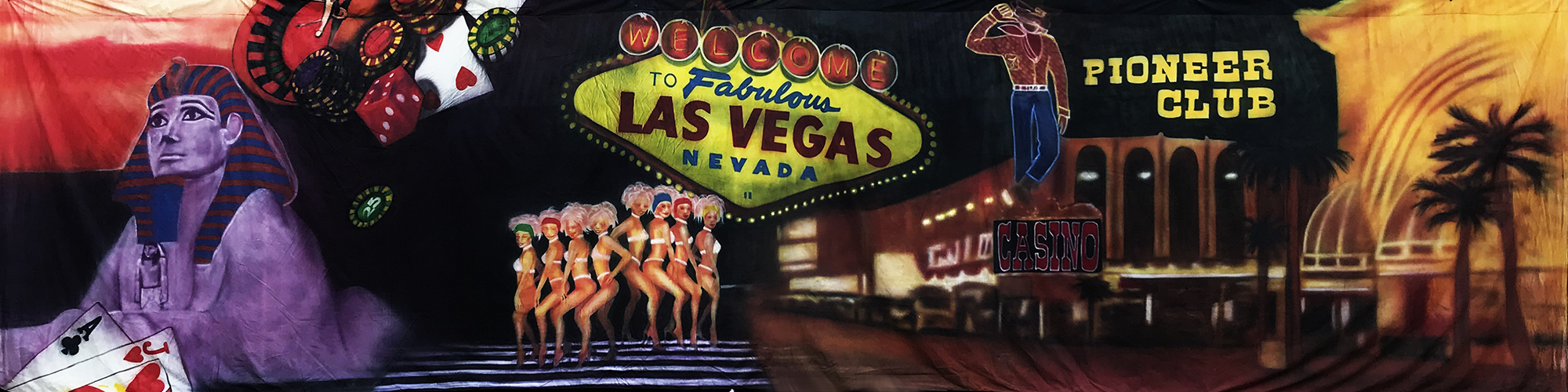 Vegas Backdrop 12m x 3m  Vegas sign and clubs  Treated with fire retardant 090719