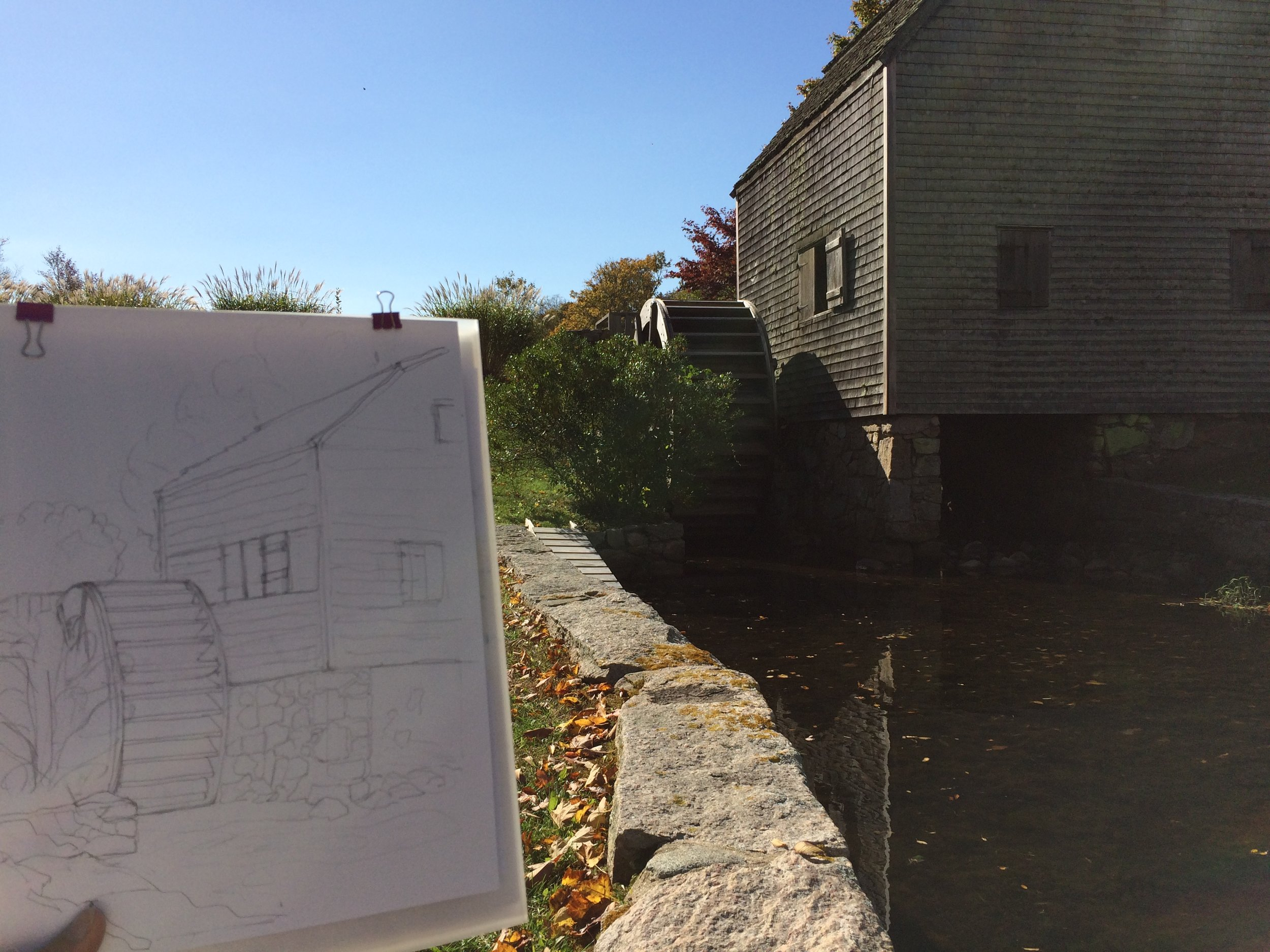 Initial Sketch of Grist Mill