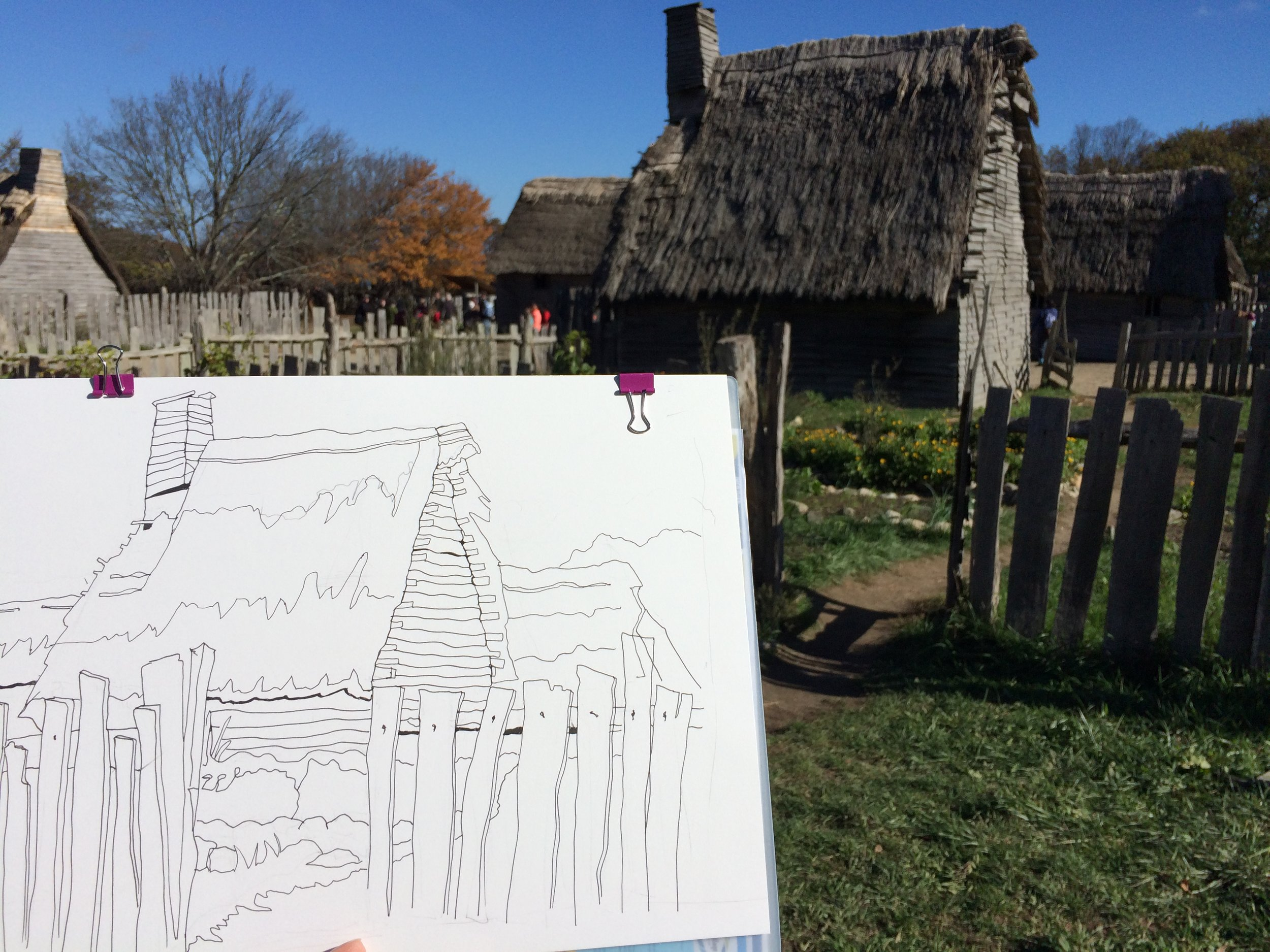 First stage of pen & ink at Plymouth Plantation