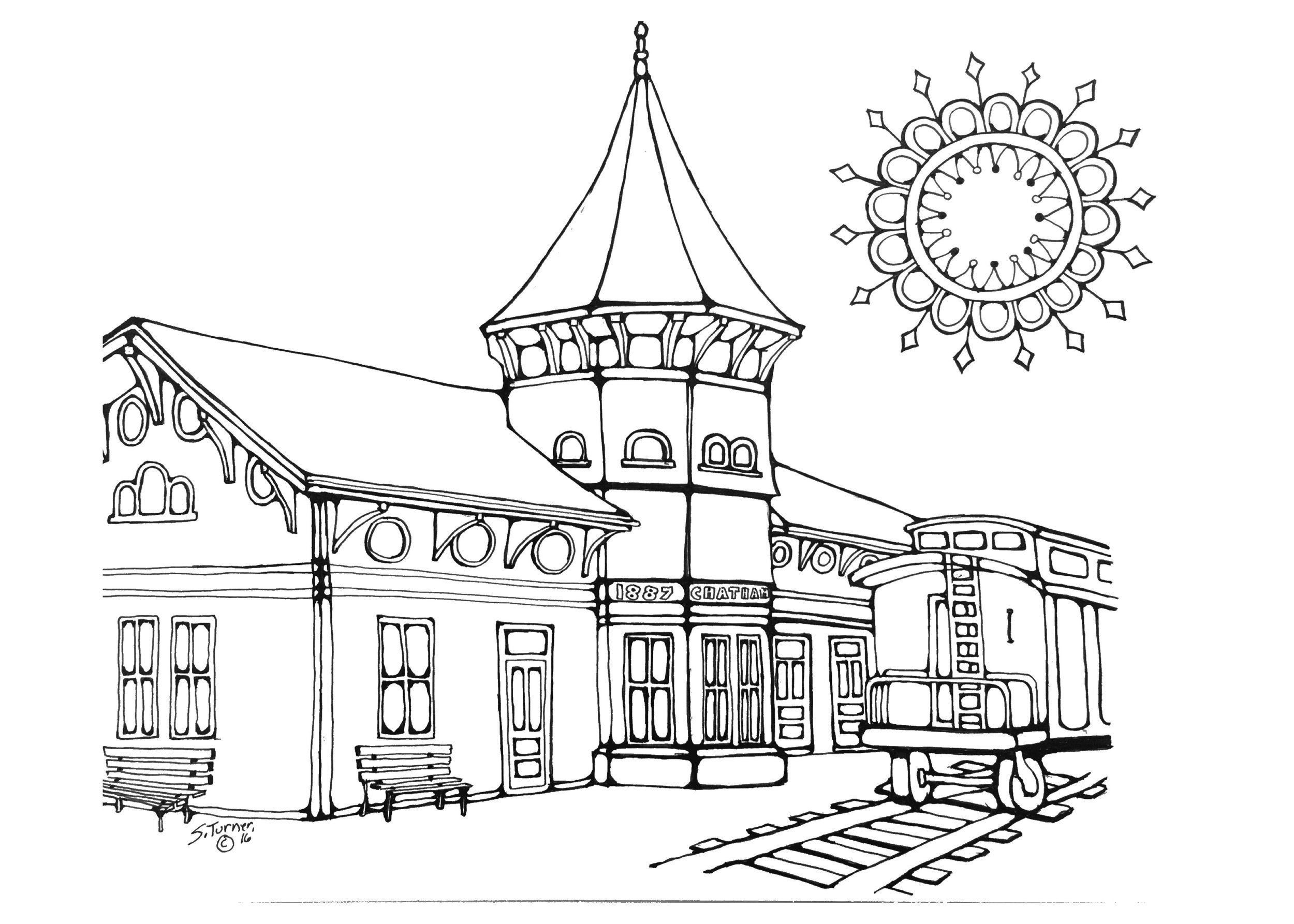 Pen & Ink of Chatahm Railroad Museum