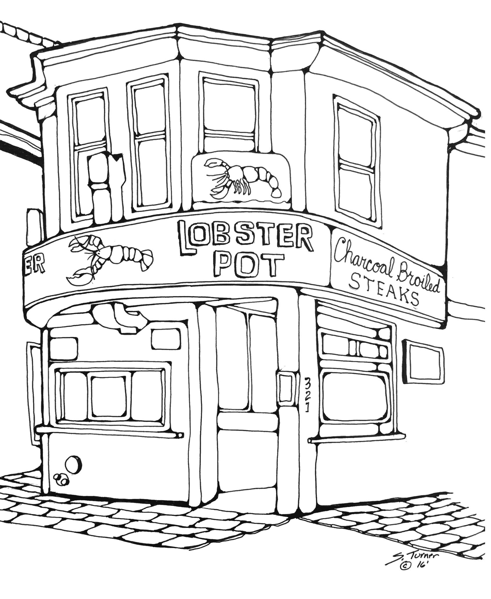 Finished pen & ink of Lobster Pot in Provincetownv