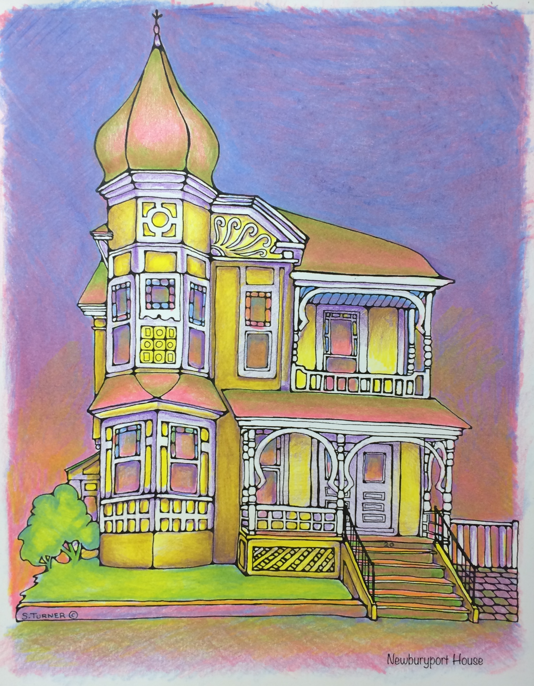 """Completed in colored pencil using the 3 primary colors. Drawing from"""" Color Newburyport"""" by S. Turner"""