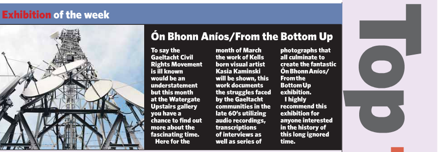Kilkenny Reporter - Exhibition of the Week: Ón Bhonn Aníos / From the Bottom up    Published March 2014