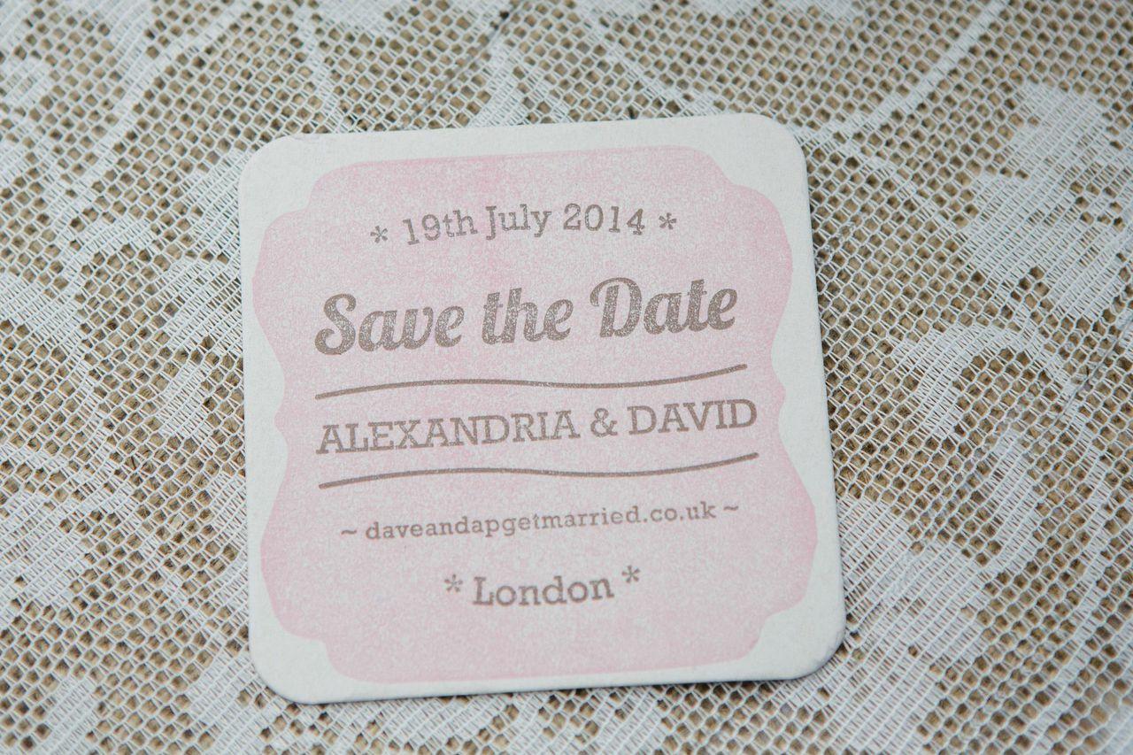 letterpress wedding coaster