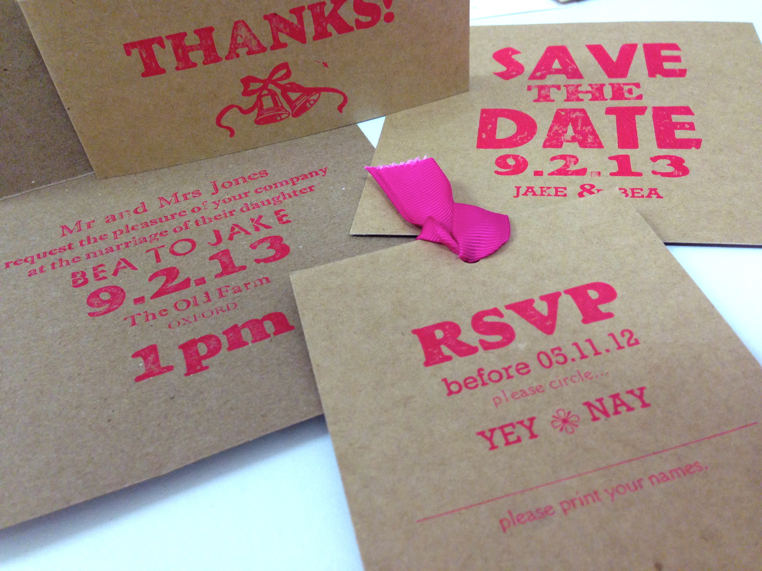 fluro pink wedding invitation