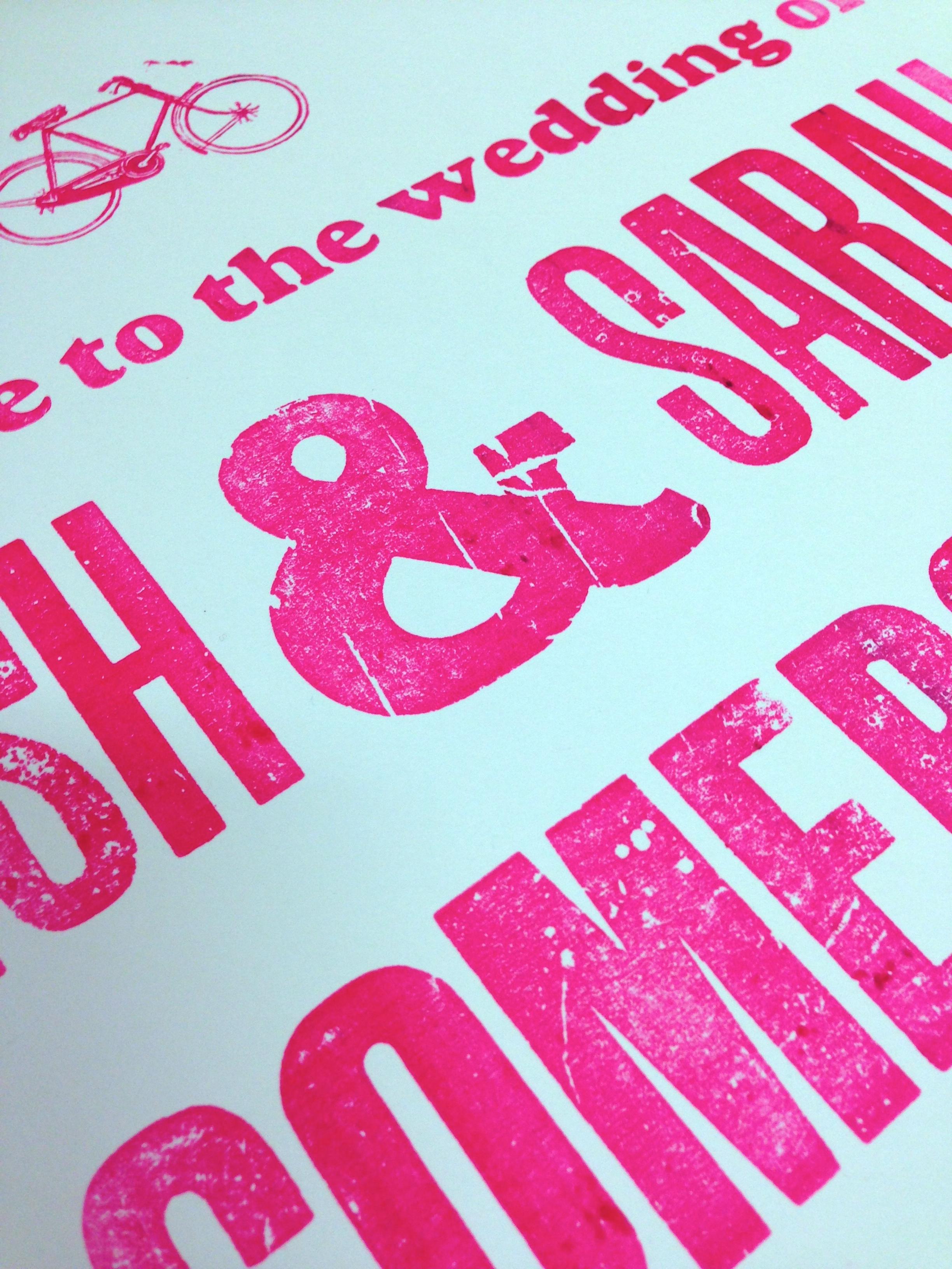 letterpress wedding poster