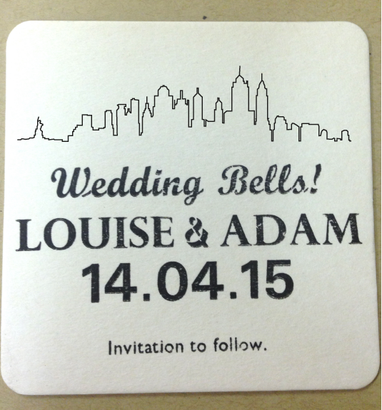 letterpress save the date coaster