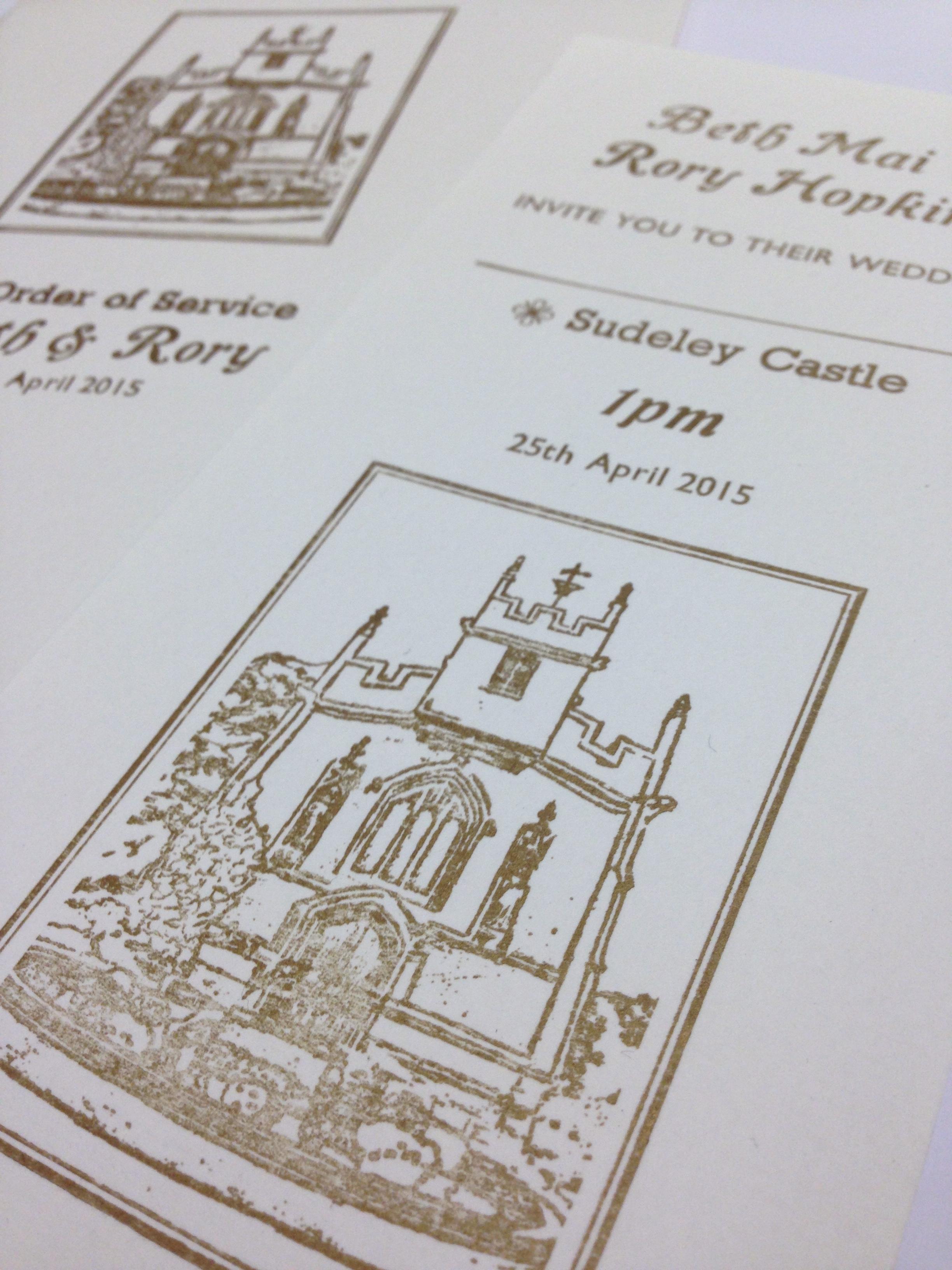 sudeley castle wedding invitations