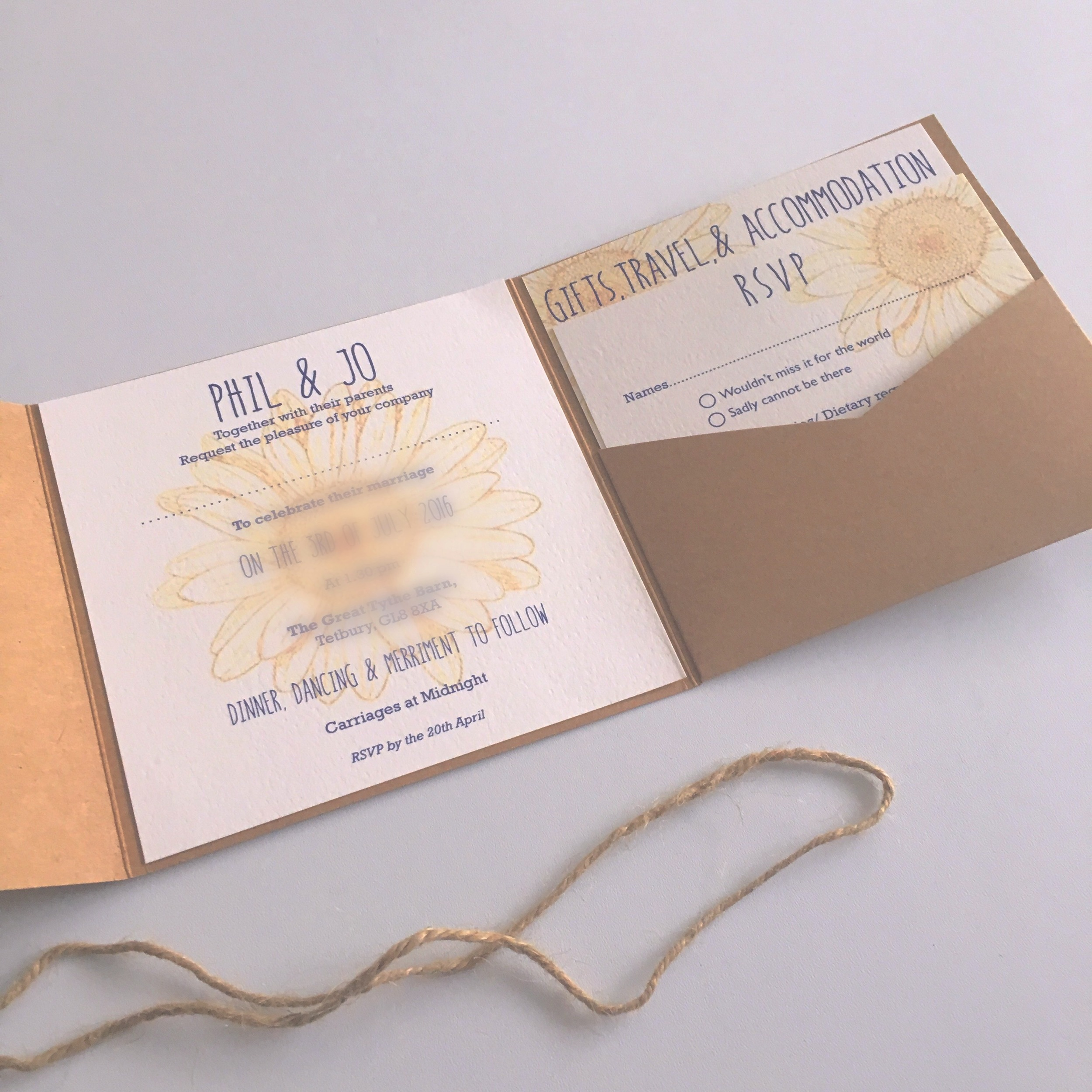 vintage pocketfold wedding invitation