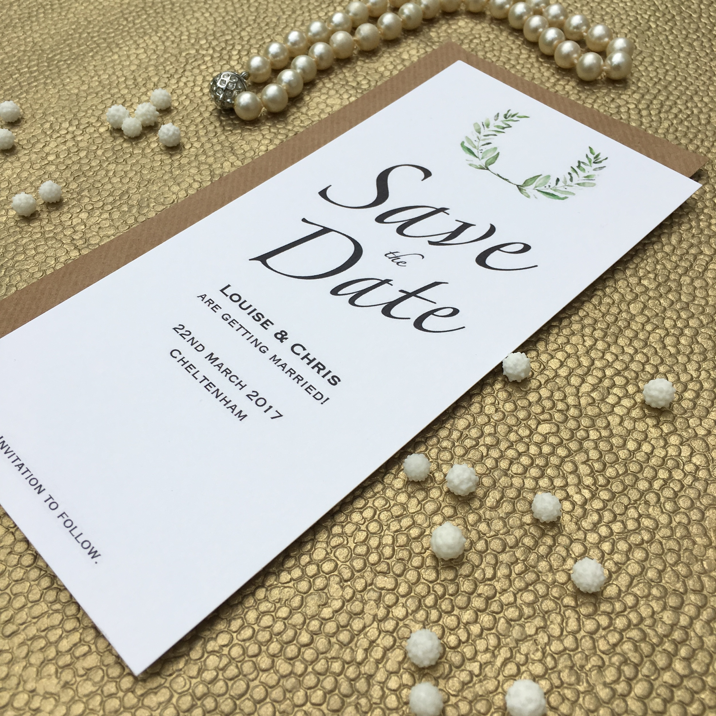 olive themed save the date