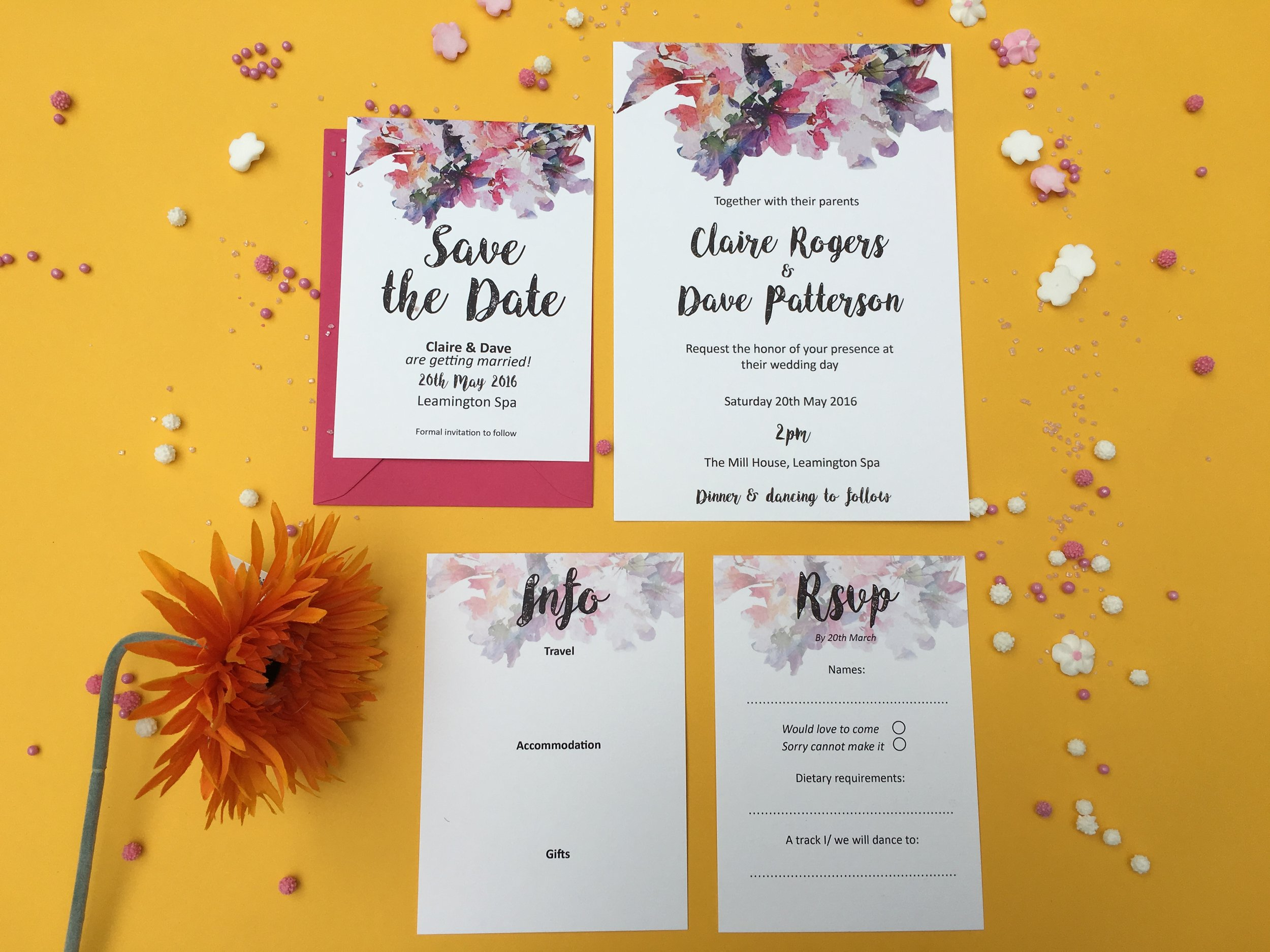 watercolour flower wedding invitations
