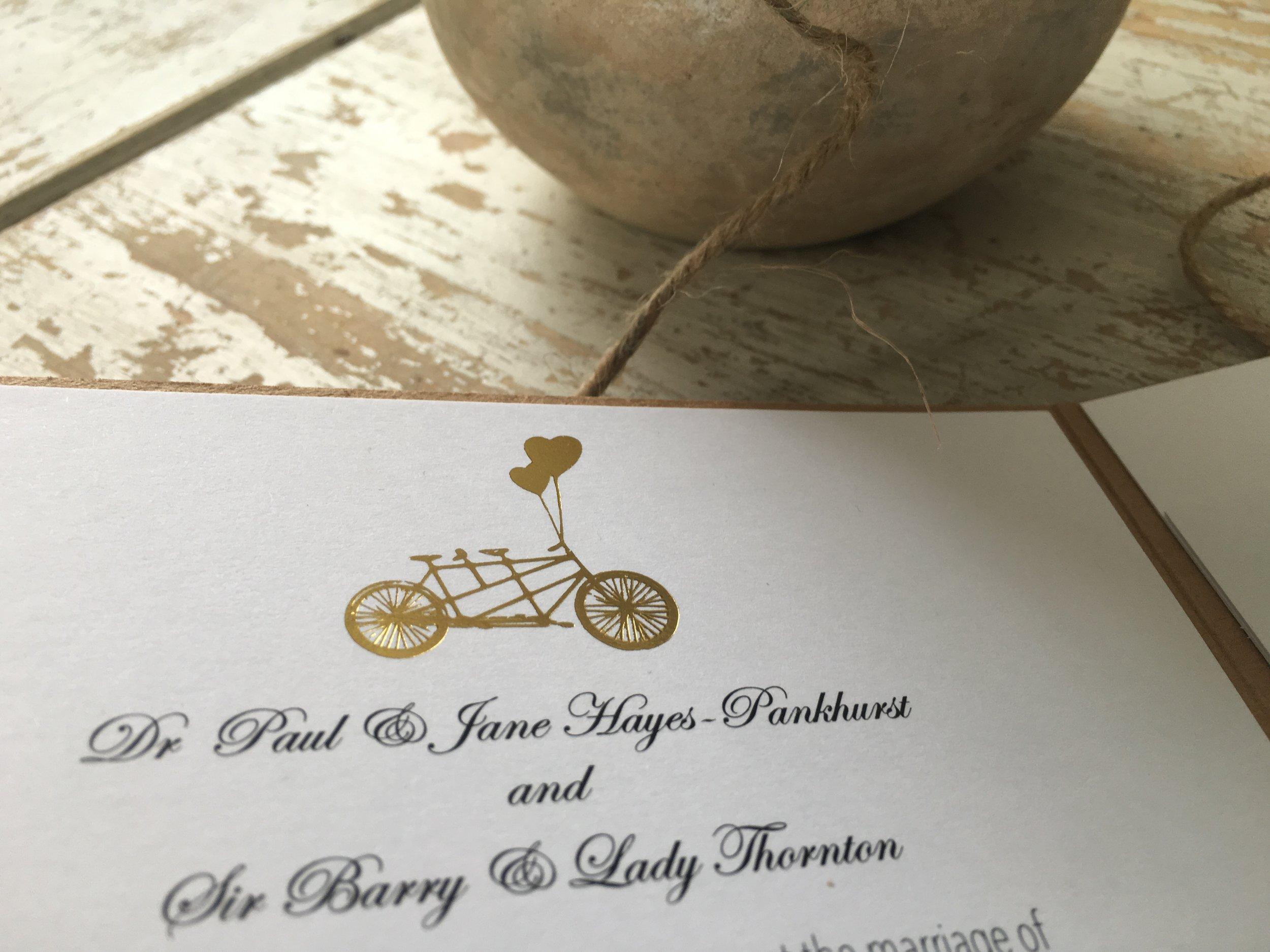 tandem bike invitation
