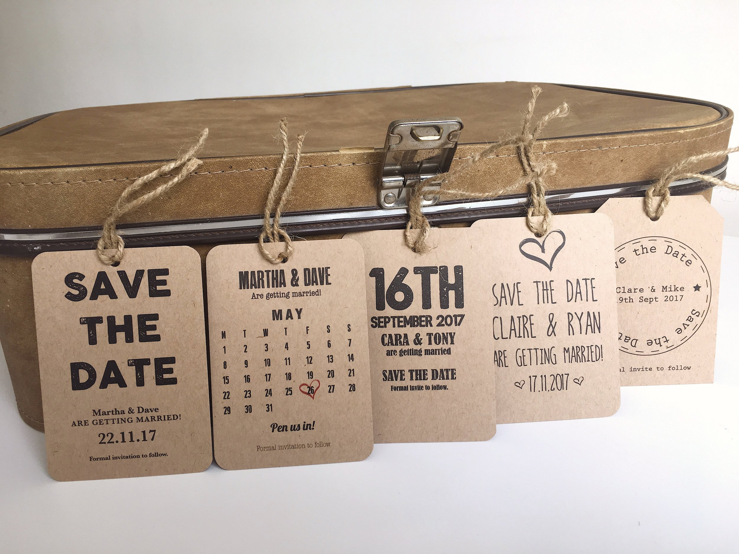 vintage save the date tags