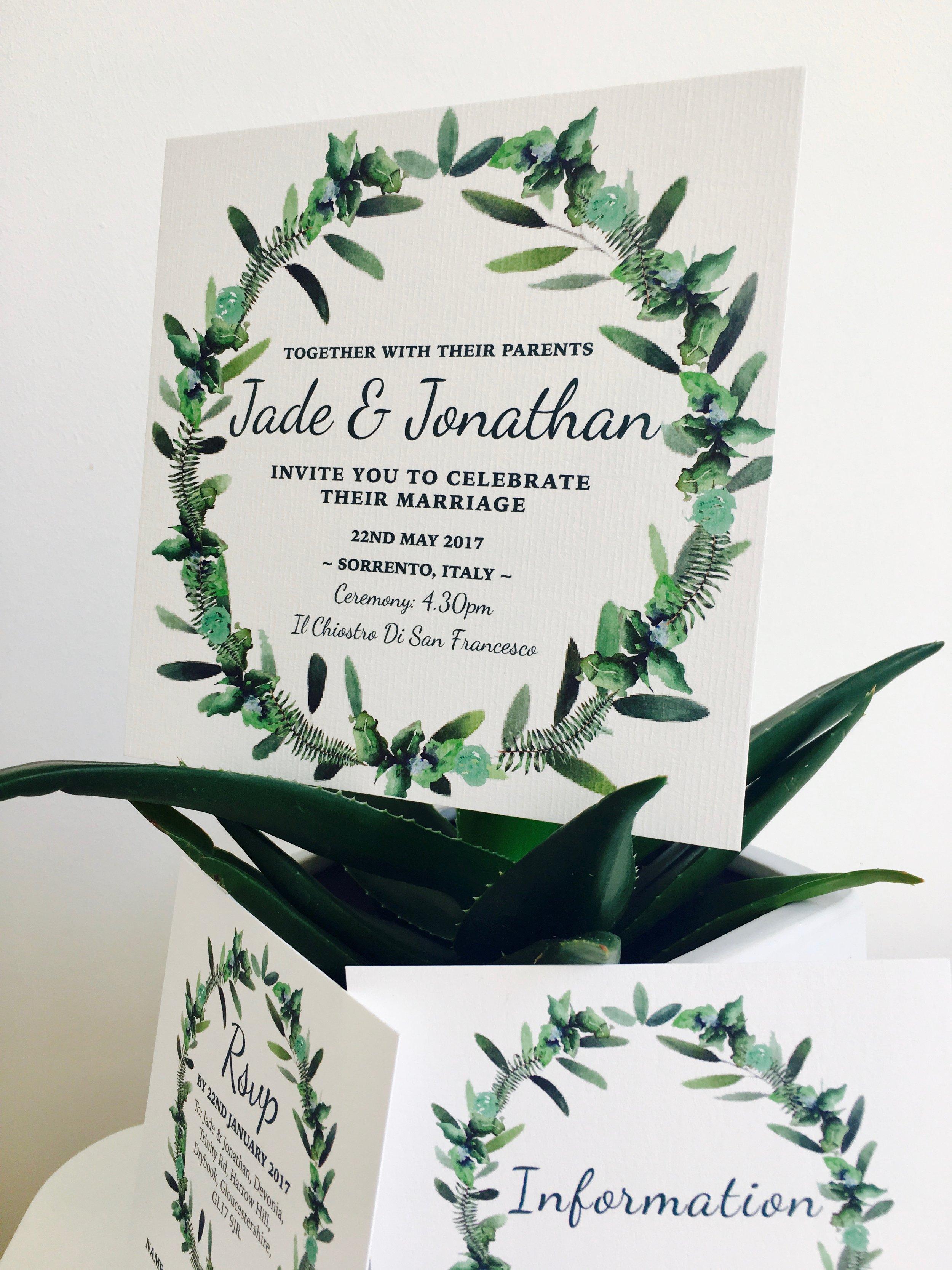 olive themed wedding invitation