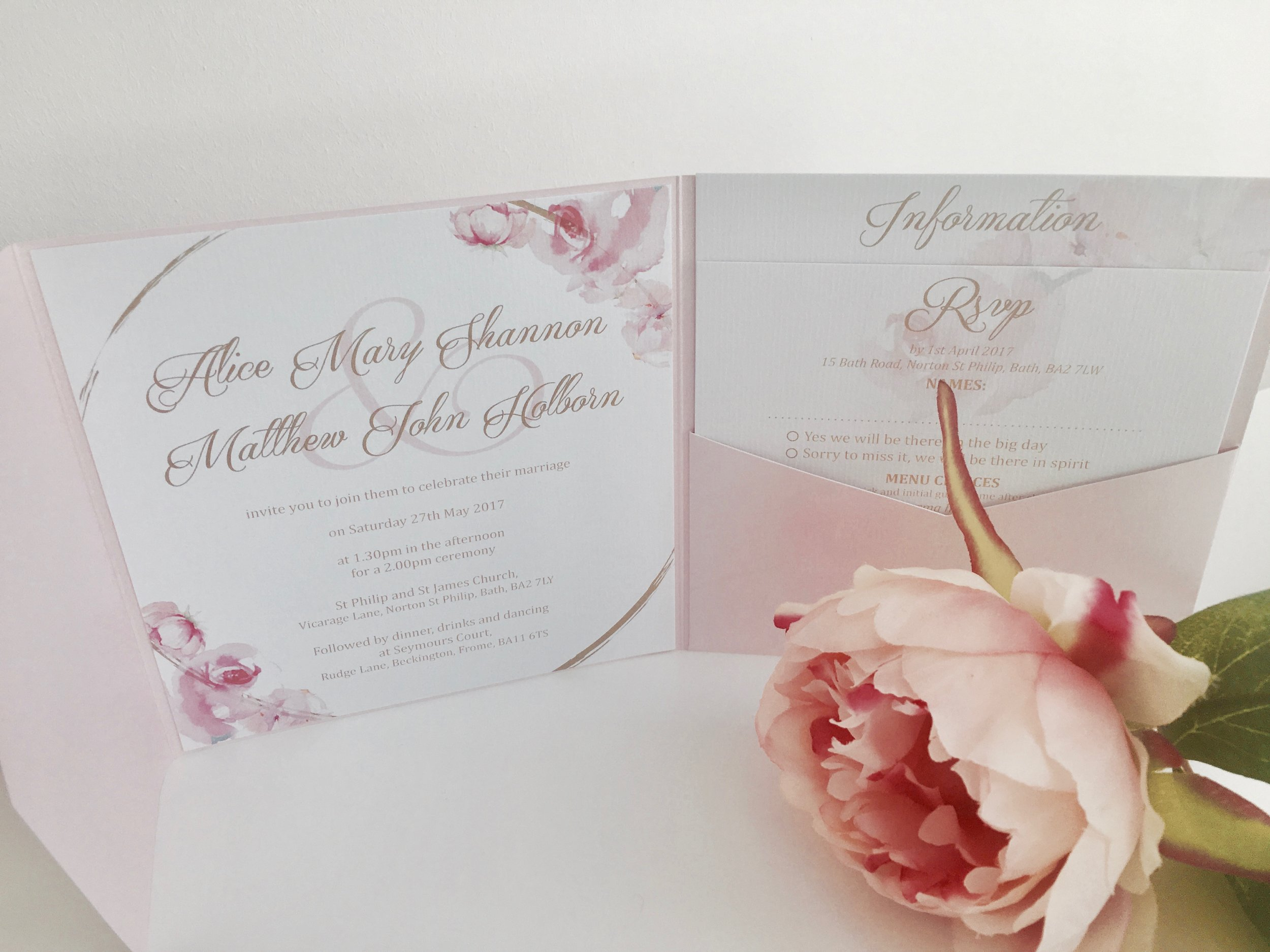 Blush pink wedding invitation suite