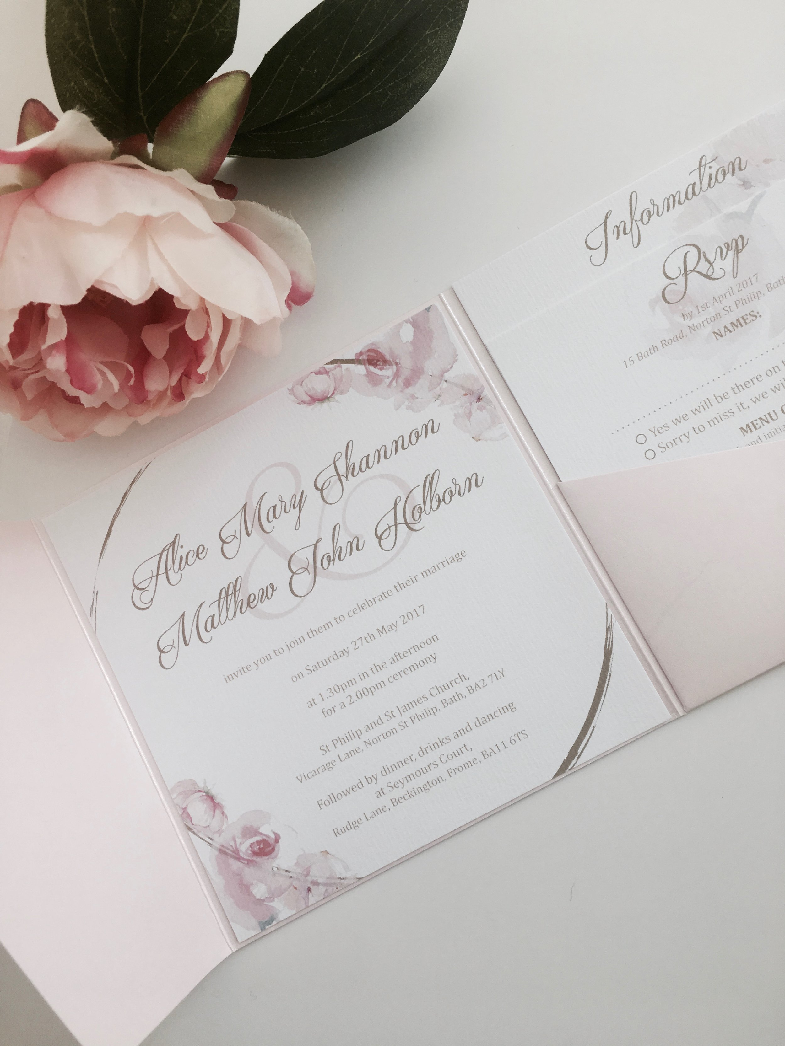 Blush pink wedding invitation suite