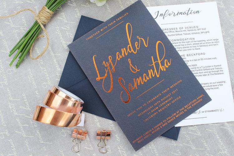 Copper & Navy Bespoke Wedding Invitation